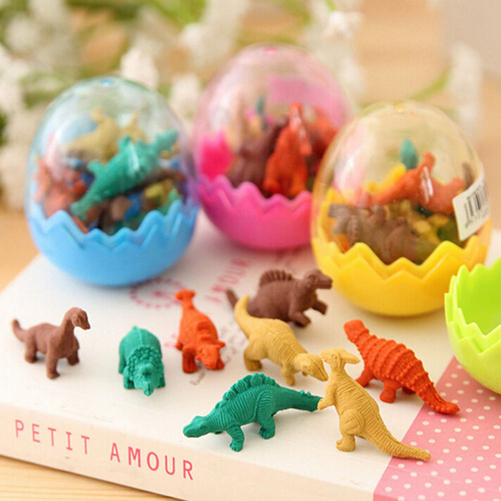 Eraser Original Hot Sale 1 Pair Colorful Cartoon Dinosaur Egg Shape Erasers Gift For Child Correction Supplies