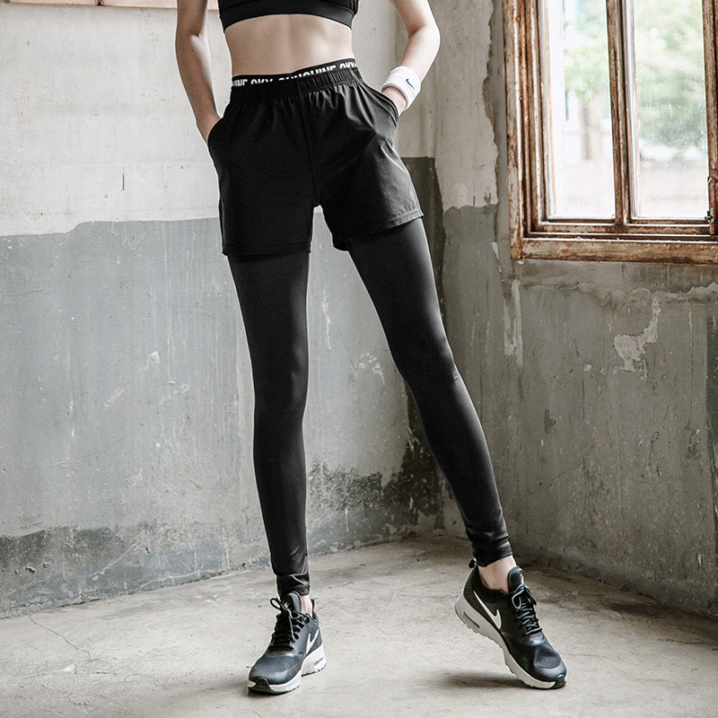 2 Piece Pants+shorts Sportswear Gym Clothing for Women Pants Yoga Sport Fitness Leggins Running Tights Pants Gym Leggings Women