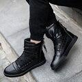 Nuevos Hombres Planos de la Manera Zapatos Rojos Botas High Top Casual Barcos de hip-hop Punky Britpop Estilo Zapatos Para Hombre Zapatos Hombre Deporte entrenadores