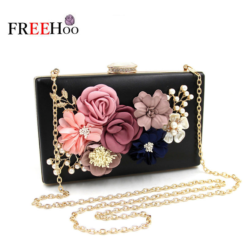 New flower dinner wrapped bead embroidered hand bag inlaid diamond Pearl evening pack Party Lady Bag Minaudiere