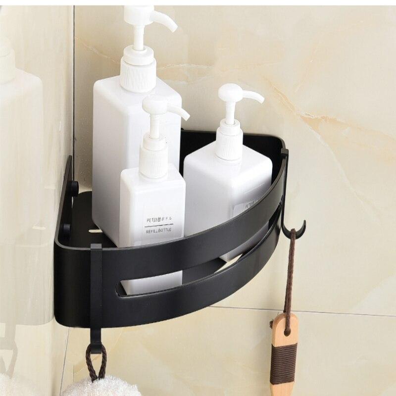 Clásica no perforada baño negro inodoro de aluminio espacio engrosada Triangular pared colgando sola capa estante de la esquina - 2