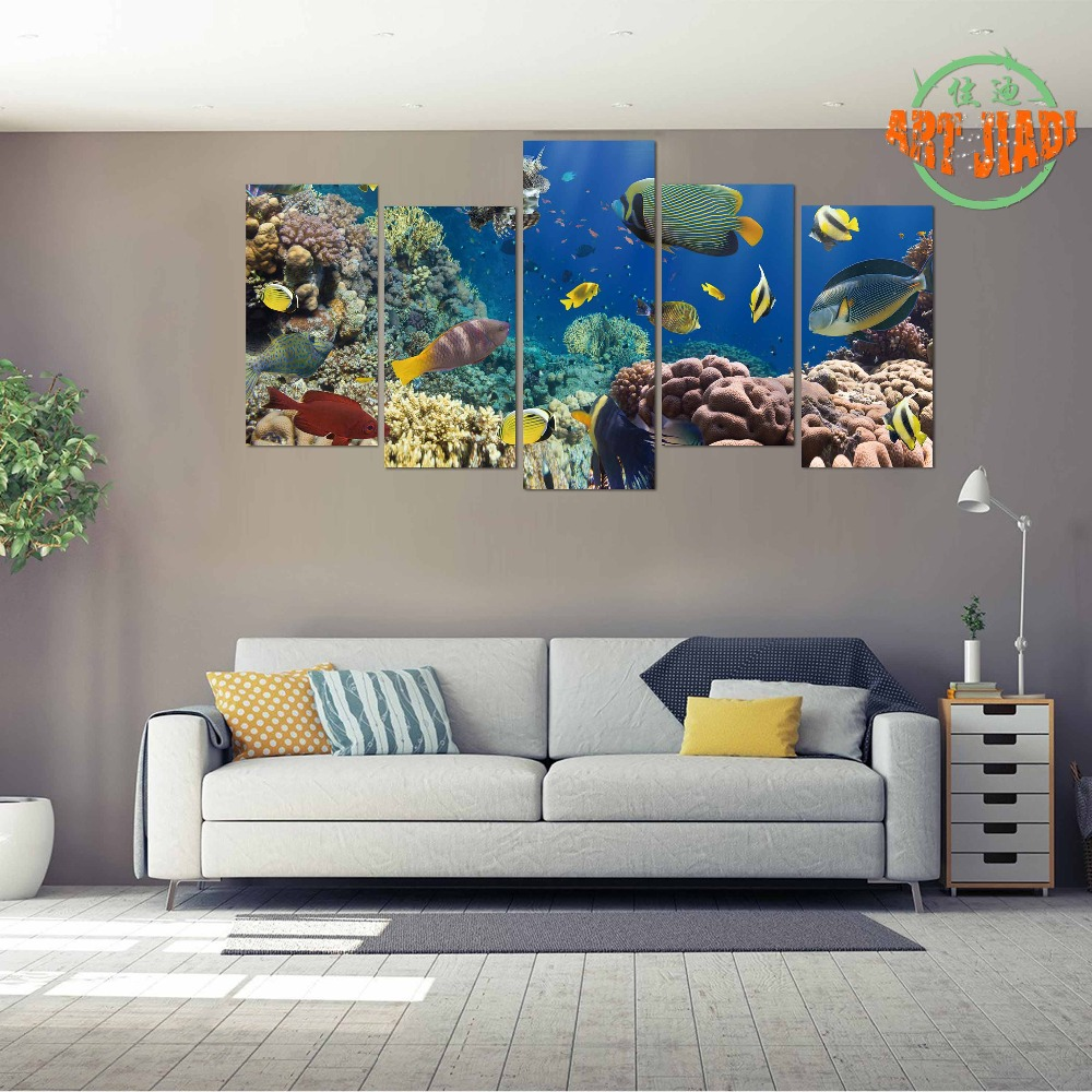 New 5 piece set canvas art coral fish in the red sea hd canvas