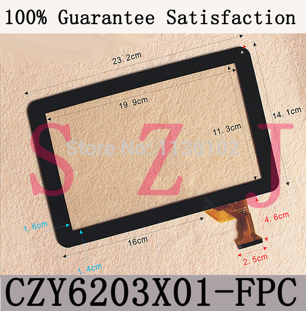 Free shipping 9'' inch can ou PARA9 M10 touch screen display on the outside CZY6203X01-FPC CZY6203X01 tablet screen replacement