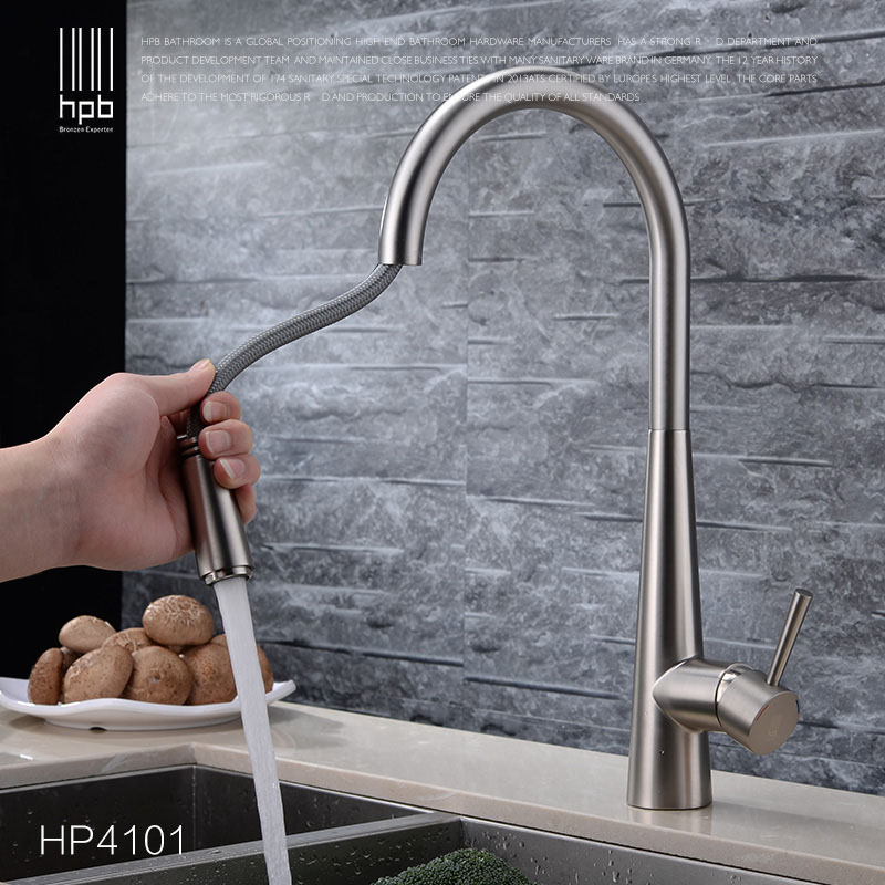 HPB Copper Deck Mount Pull Out Kitchen Faucet Sink Mixer Tap Cold Hot Water taps Swivel Spout Chrome Brushed robinet de cuisine xueqin black pull out spray kitchen basin sink water faucet mixer tap swivel spout bathroom hot cold water faucet