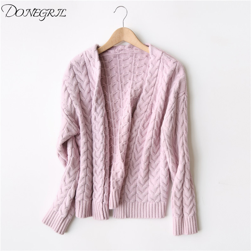 Korean Style Cable-Knit Cardigans For Women 2019  Casual Sweater Long Sleeve V-Neck Women's Spring Jacket Knitted Cardigan