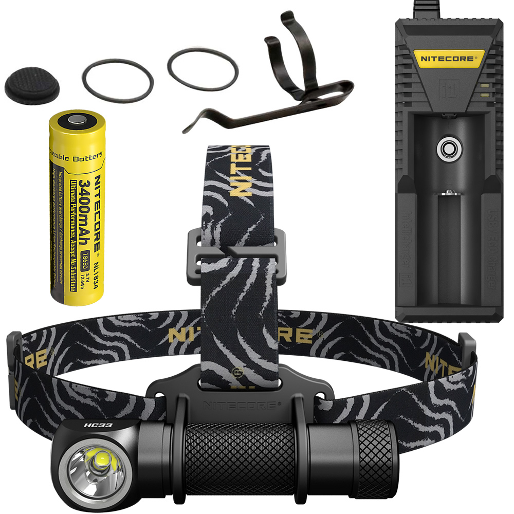 2018 NITECORE 1800 Lumen HC33 Headlamp + i1 Charger + 18650 Rechargeable Battery Headlight Waterproof flashlight Outdoor fishing nitecore hc33 1800lumen headlamp um10 charger 18650 rechargeable battery headlight waterproof flashlight outdoor camping travel