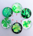 30pcs/lot lucky clover Glass Cabochons round 20mm Flatback for Necklace bracelet Earrings DIY Jewellery