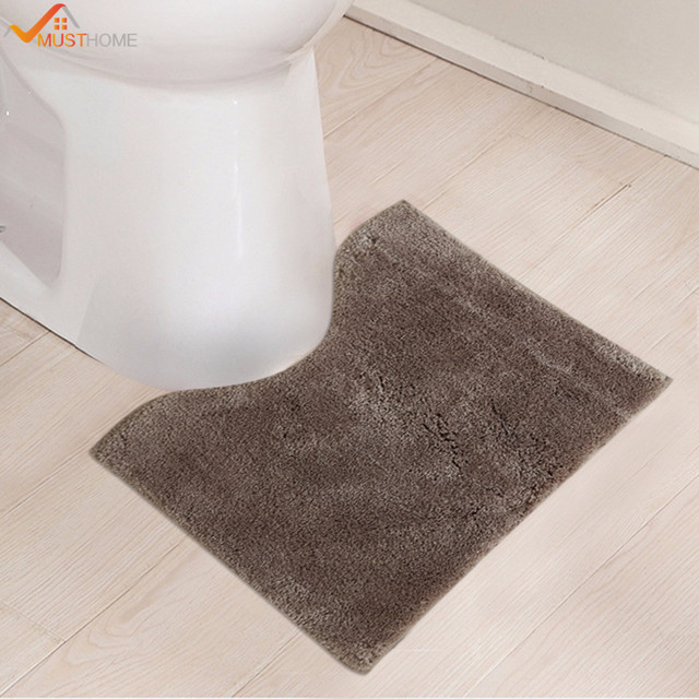 45x50cm Bathroom Toilet Mats Microfiber Non Slip Rug For U Shape Natural Latex Back