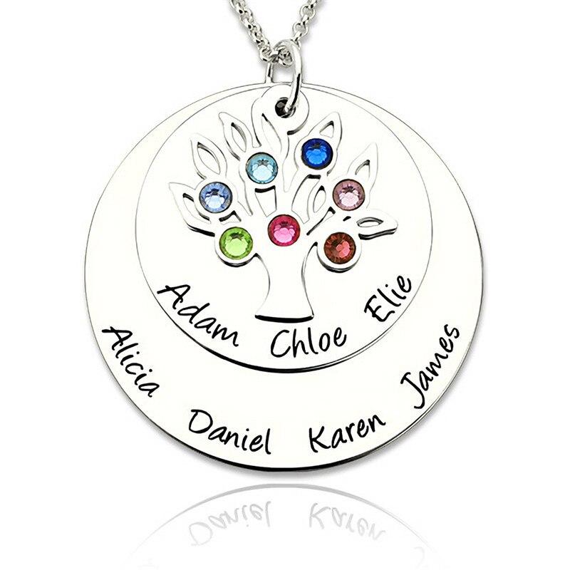 Nom personnalisé collier famille arbre de vie lettre colliers naissance pierre bijoux 925 argent Vintage cadeau pour Grandmas maman # EL40