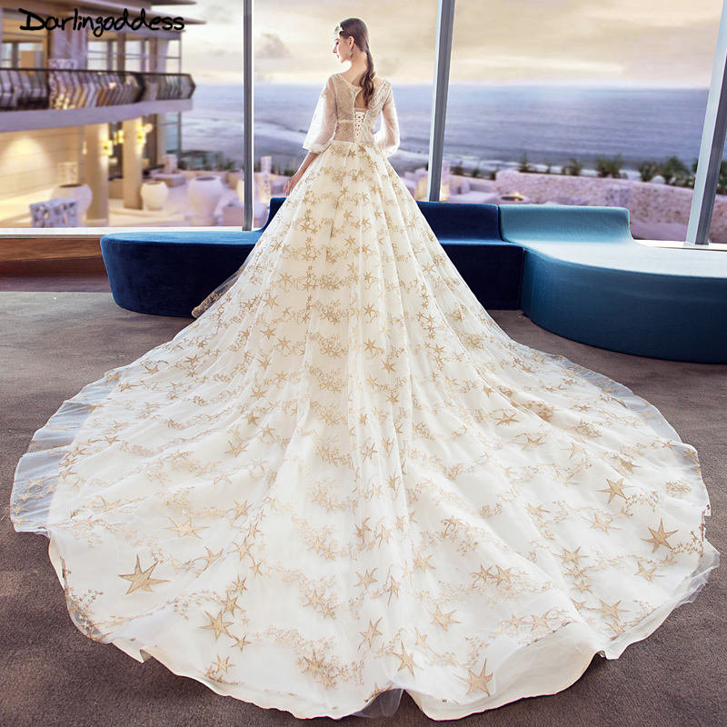 Luxury Princess Wedding Dress 2018 Long Sleeve Ball Gown Women Wedding Dresses Plus Size V Neck Lace Vestido De Noiva Princesa