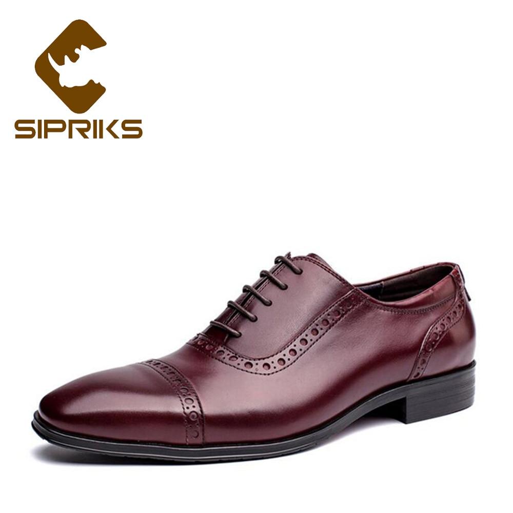 Sipriks Men Church Shoes Black Leather