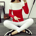 2016 New Spring Autumn High Elastic Knitted Sweater Women slash neck Split Women Sweaters And Pullovers patchwork tops