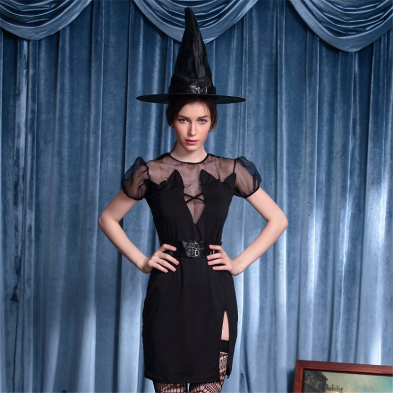 high-quality Black witch dress Halloween Party host theatrical performances Sexy female magician Cosplay photography clothing