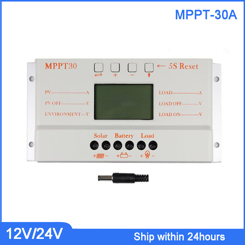 PWM Mode Solar PV Controller 30A LCD Display 12V/24V Solar MPPT Regulator with Load Light and Timer Control for Max 50V Input