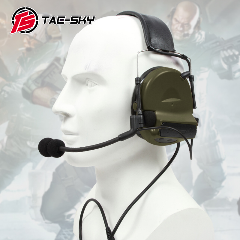TAC SKY COMTAC II silicone earmuffs outdoor tactical hearing defense noise reduction pickup military headphones FG-in Walkie Talkie Parts & Accessories from Cellphones & Telecommunications