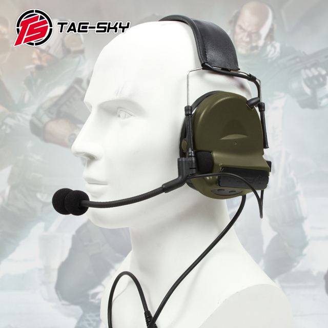 TAC SKY COMTAC II silicone earmuffs outdoor tactical hearing defense noise reduction pickup military headphones FG