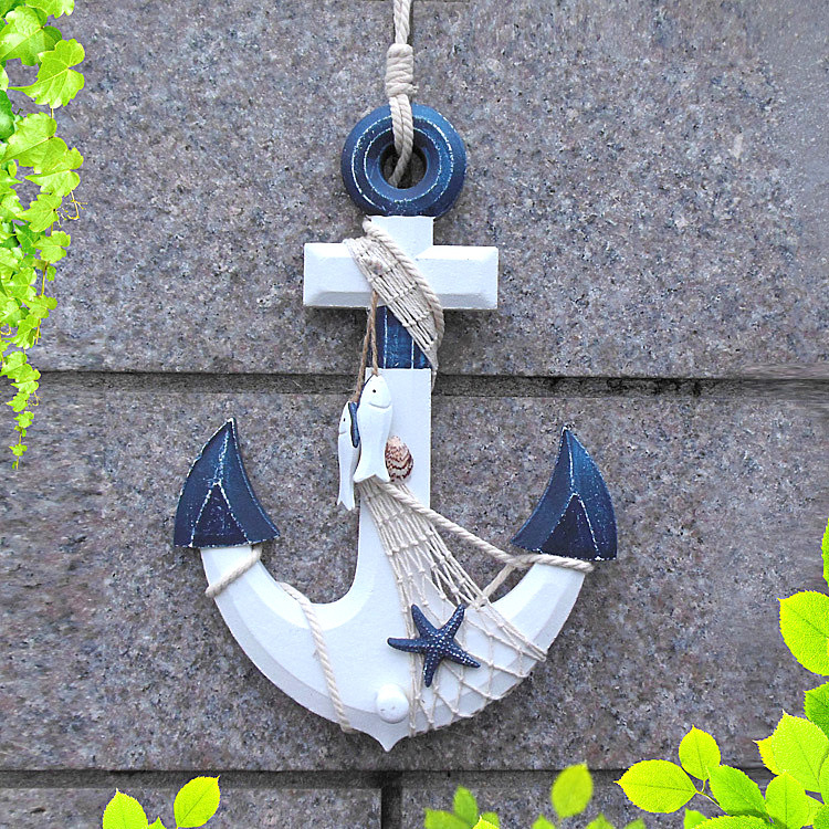 1PC 33CM European Sea World Household Wall Hanging Decoration Mediterranean Style 3D Wood Anchor Hanging Decoration MP 008