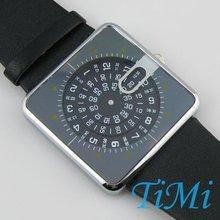 Black Unique Design Leather Lady Men Quartz Watch