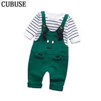 Baby Boys Pants Sets Stripe T Shirt Top Bib Cartoon Pants Overall Outfits Newborn Cloth Roupa