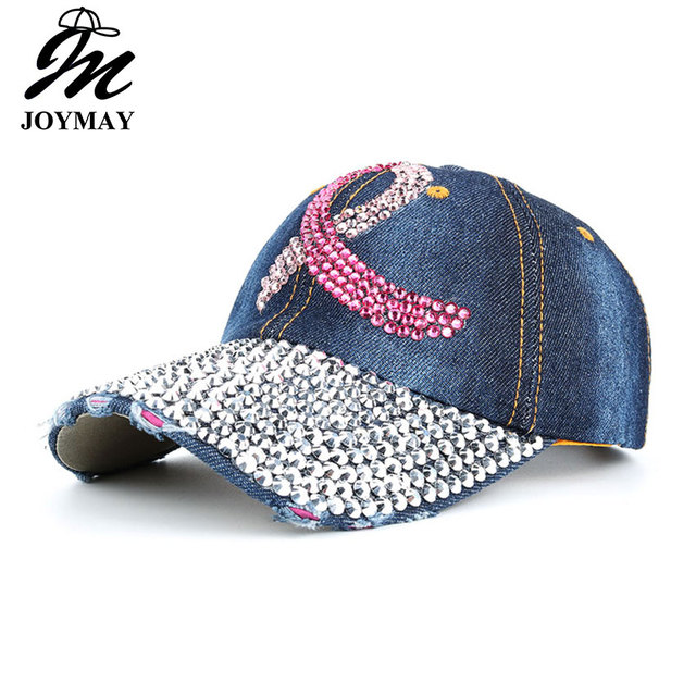 101a8b2e028 2016 New Fashion Health Care For Women Breast Denim Cotton Rhinestone Hat  Baseball Cap With Pink Ribbon Diamante B292