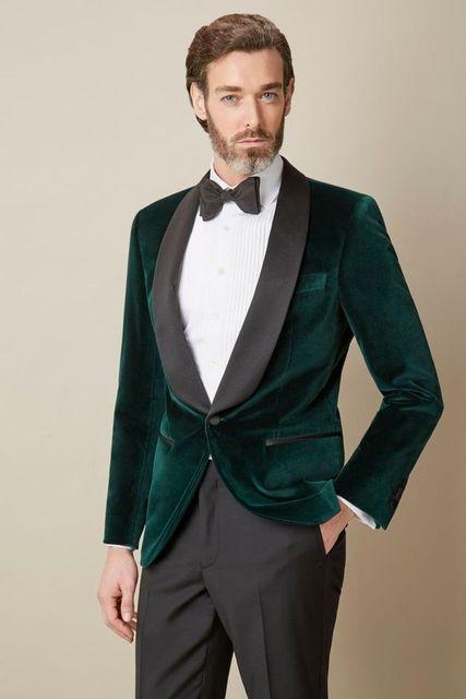 Latest Coat Pant Designs Green Velvet Groom Tuxedo Black