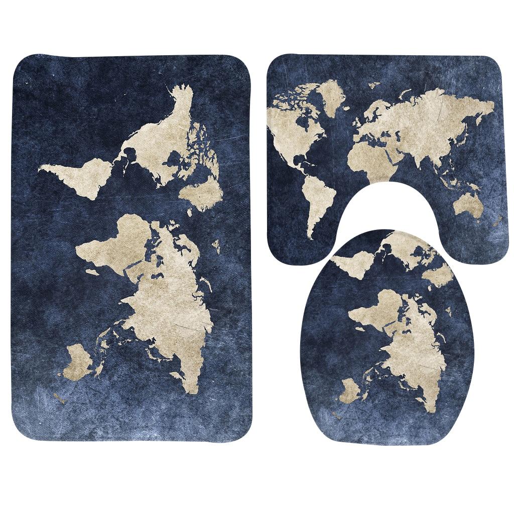 Classic 3pcs Bathroom Mat Set World Map Pattern Anti Slip