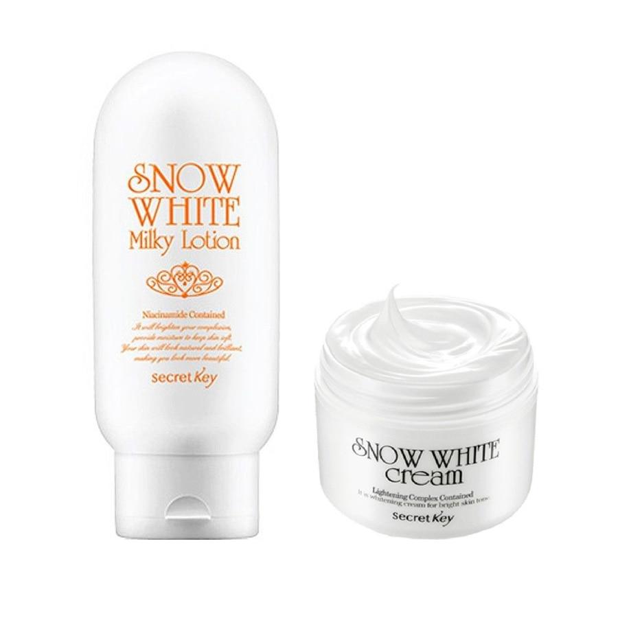 Secret Key Snow White Cream 50g + Secret Key Snow White Milky Lotion 120g Face Cream Moisturizing Whitening Korea Cosmetic