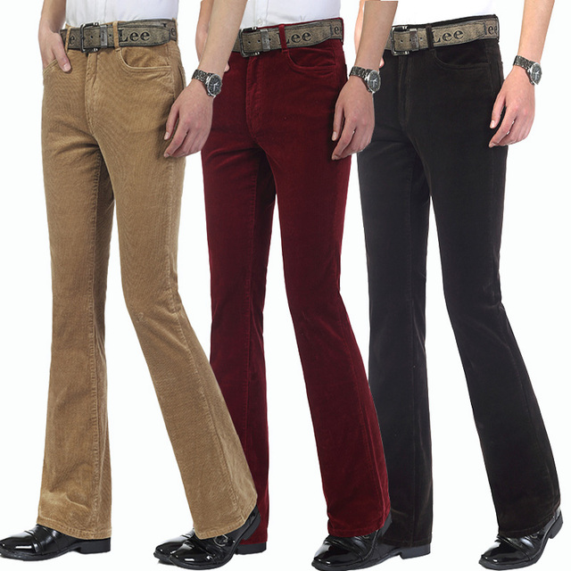 Free Shipping 2019 Men's Spring Autumn New Corduroy Boot Cut Pants Male Mid Waist Business casual flares Corduroy Trousers 27-38 2
