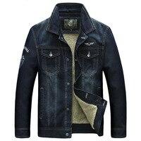 Brand Denim Jacket Men AFS JEEP Mens Jean Jacket Thick Warm Winter Jacket Men Fleece Retro