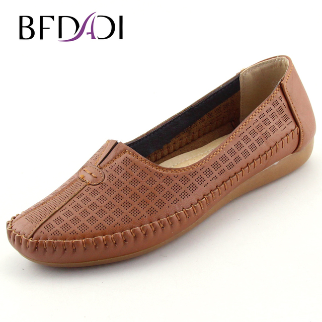 BFDADI Large Size 2016 Women Summer Hole Shoes Slip-on Women Flats Comfort Shoes Women Moccasins Feminine Anti-skid Flats 092