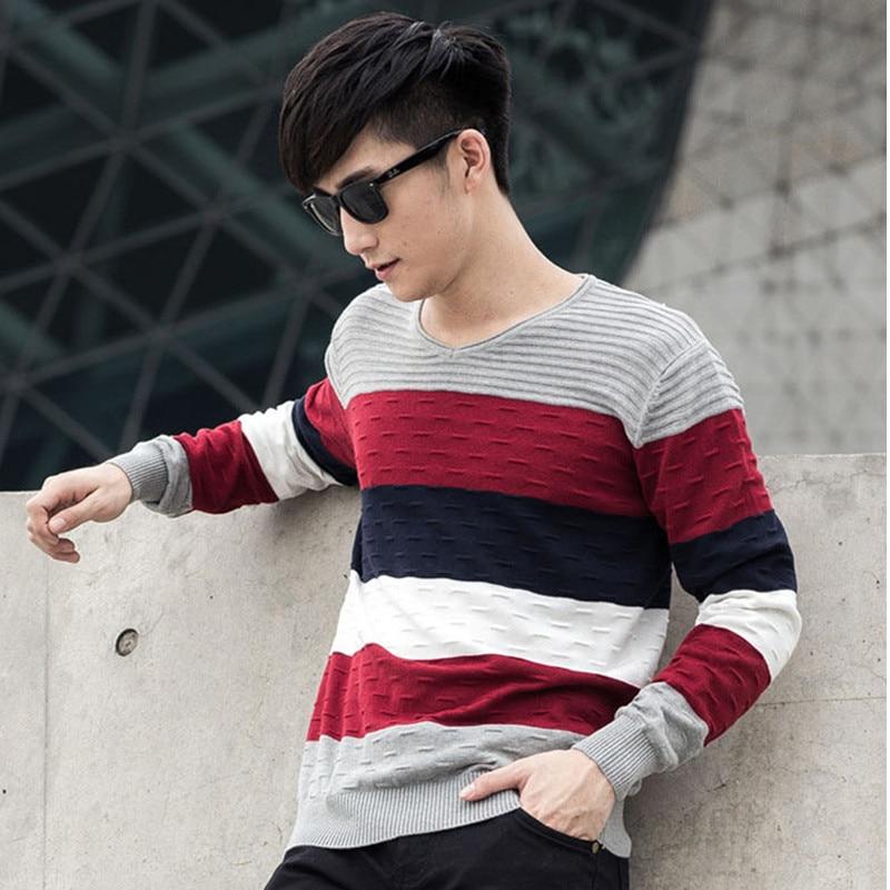 Men Striped Sweater V Neck Jumper Autumn Winter Cotton 2015 Brand