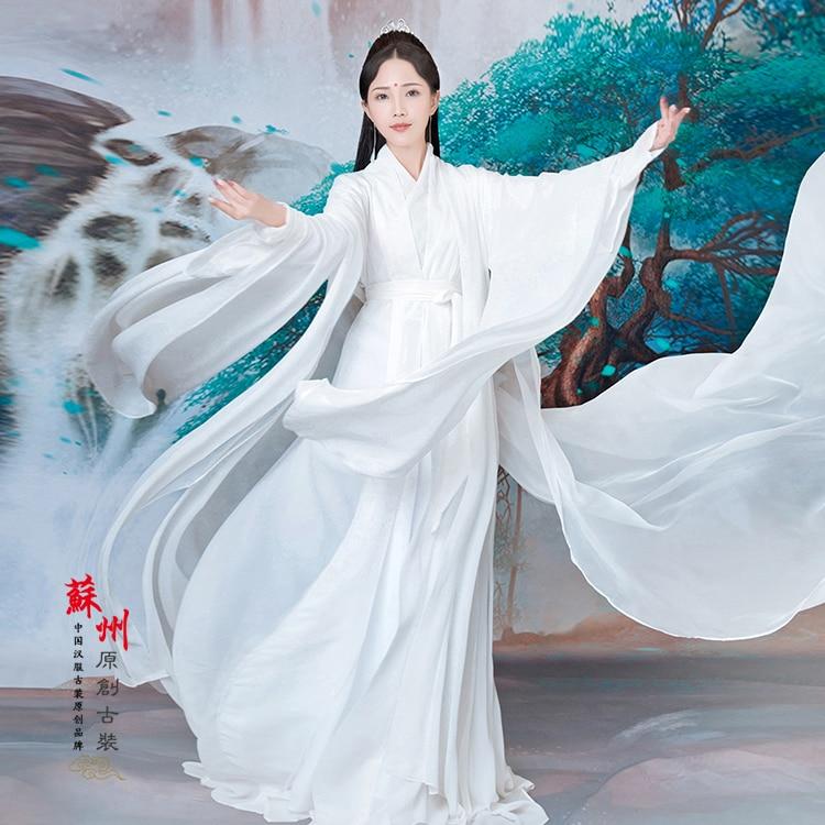 BaiQian Pure White Chiffon Fairy Costume Hanfu for Photography or Stage Performance Peach Blossom Fairy Costume