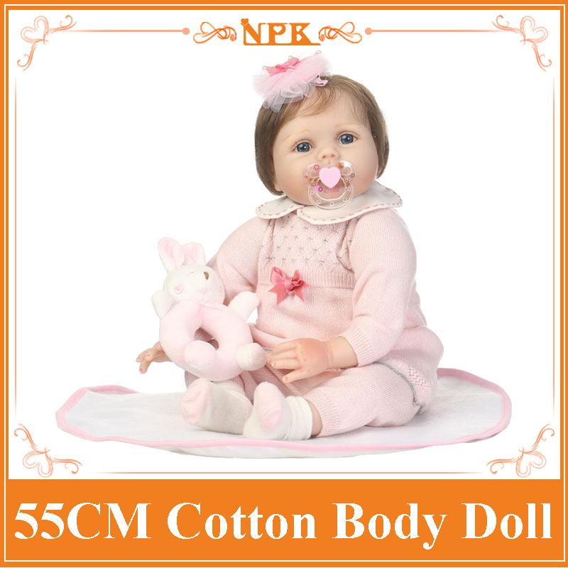 NPK 22Inch Lovely Reborn Babies Soft Silicone Lifelike Newborn Baby Doll In Pink Sweater Children's Toys For Girls Birthday Gift can sit and lie 22 inch reborn baby doll realistic lifelike silicone newborn babies with pink dress kids birthday christmas gift