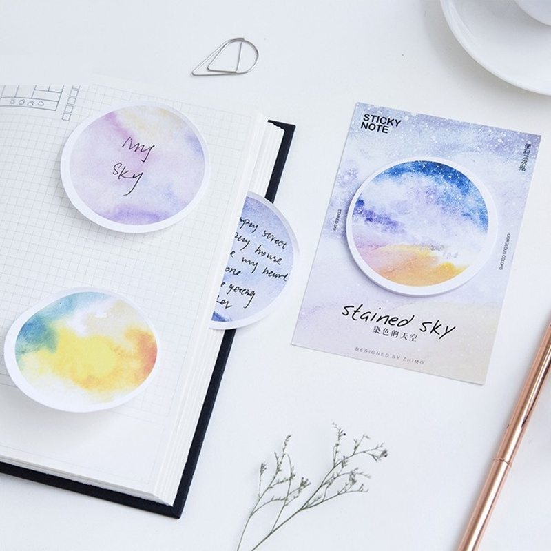 24 pcs/Lot Stained sky memo note Post marcador stickers diary book planner tag scrapbooking Office School supplies F911
