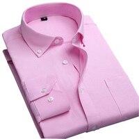 Oxford Overhemd Mannen Casual Wit Rood Paars Camsia Sociale Heren Shirts Lange Mouw Losse Mannelijke Designer Gestreepte Solid Fashion