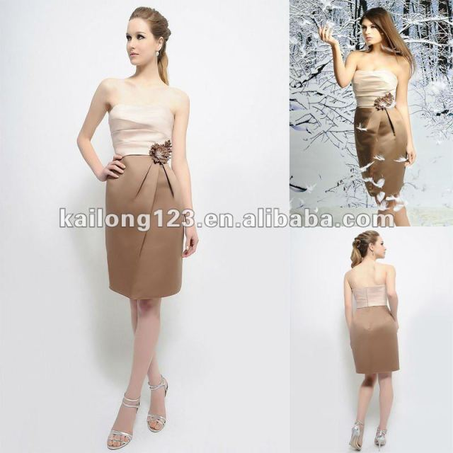Romantic Strapless Scoop Sheath Short Latte Mocha Handcraft Flowers ...
