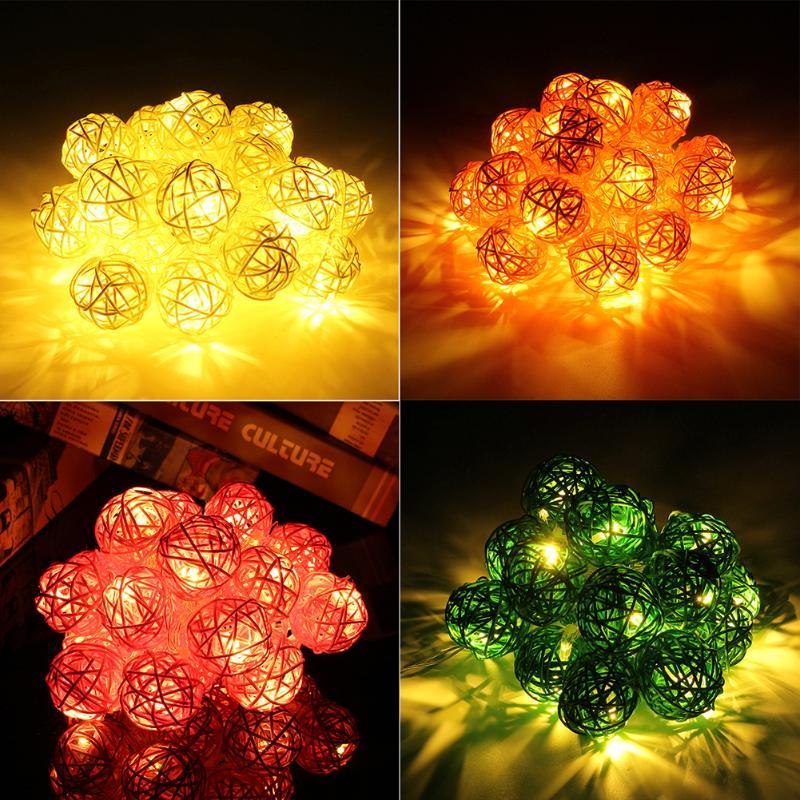 2.2 Meter 20LED Lamp Rattan Ball String Lights DIY Festivals Decorations Light for Fairy Garden Wedding Holiday Christmas Tree
