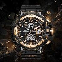 SMAEL Men Sports Watches Top Brand Quartz Digital Dual Time 50M Waterproof Fashion Military Wristwatches Male