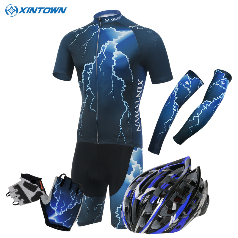 XINTOWN Mens Ropa Ciclismo Blue Lightning Bike Cycling Bicycle Helmet gloves Cuff Short Sleeve Shirt Wear Jersey Shorts Suits veobike men long sleeves hooded waterproof windbreak sunscreen outdoor sport raincoat bike jersey bicycle cycling jacket