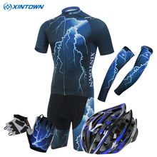 XINTOWN Mens Ropa Ciclismo Blue Lightning Bike Cycling Bicycle Helmet gloves Cuff Short Sleeve Shirt Wear Jersey Shorts Suits