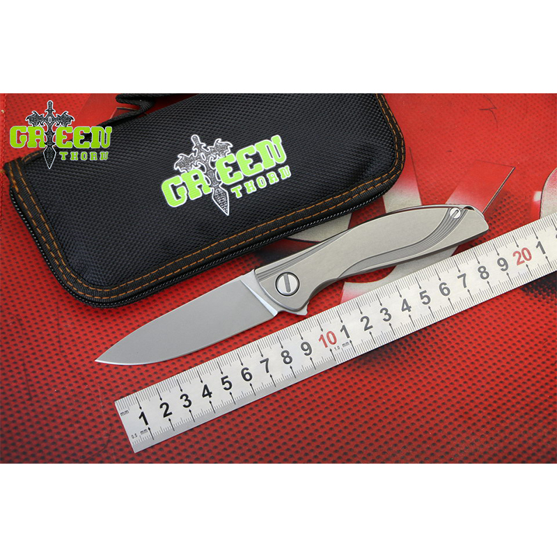 VERT ÉPINE NÉON Flipper couteau pliant M390 lame Titane poignée camping En Plein Air chasse pocke fruits couteaux EDC outils Survie