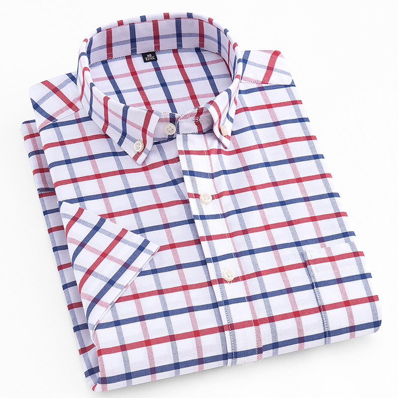 Men's Standard-fit Short Sleeve Dress Shirts Patch Chest Pocket Summer Casual Solid/plaid/striped Button-down Collar Tops Shirt