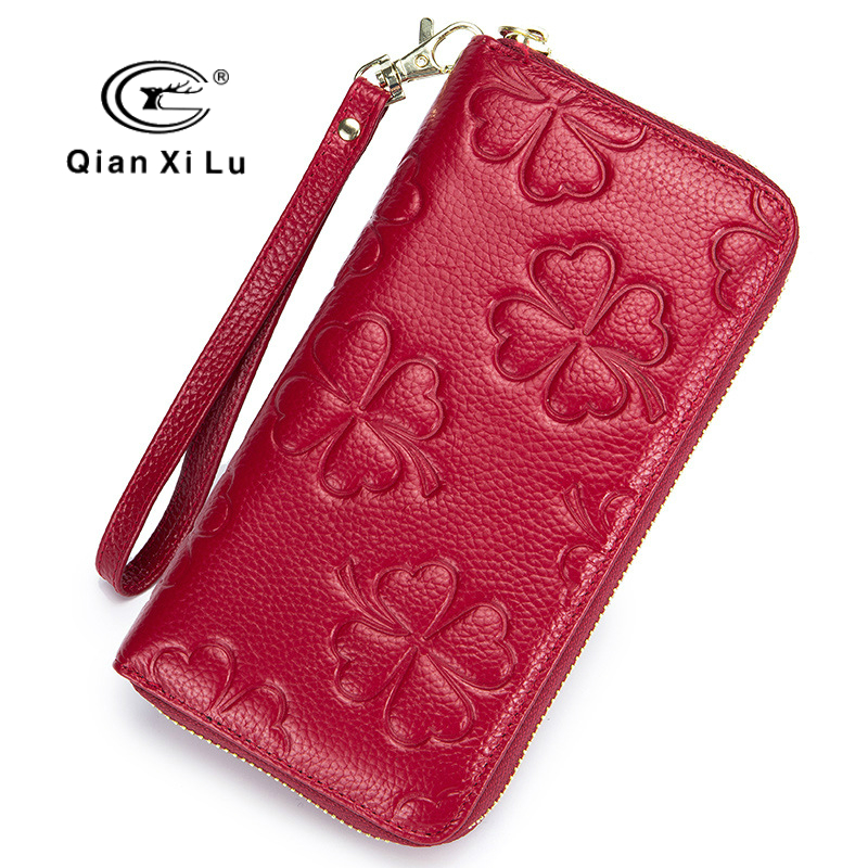 Qianxilu Women Genuine Leather Wallets 2018 Fashion 3D Embossed Cow Leather Wallets Long Clutch Zipper Purses Rfid Card Holder
