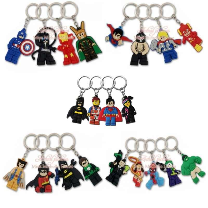 20pcs/lot Superhero Cartoon Action Figure Keychain PVC Keyring Kids Gift Key Chain Key Cover Party Favor Chaveiro Jewelry