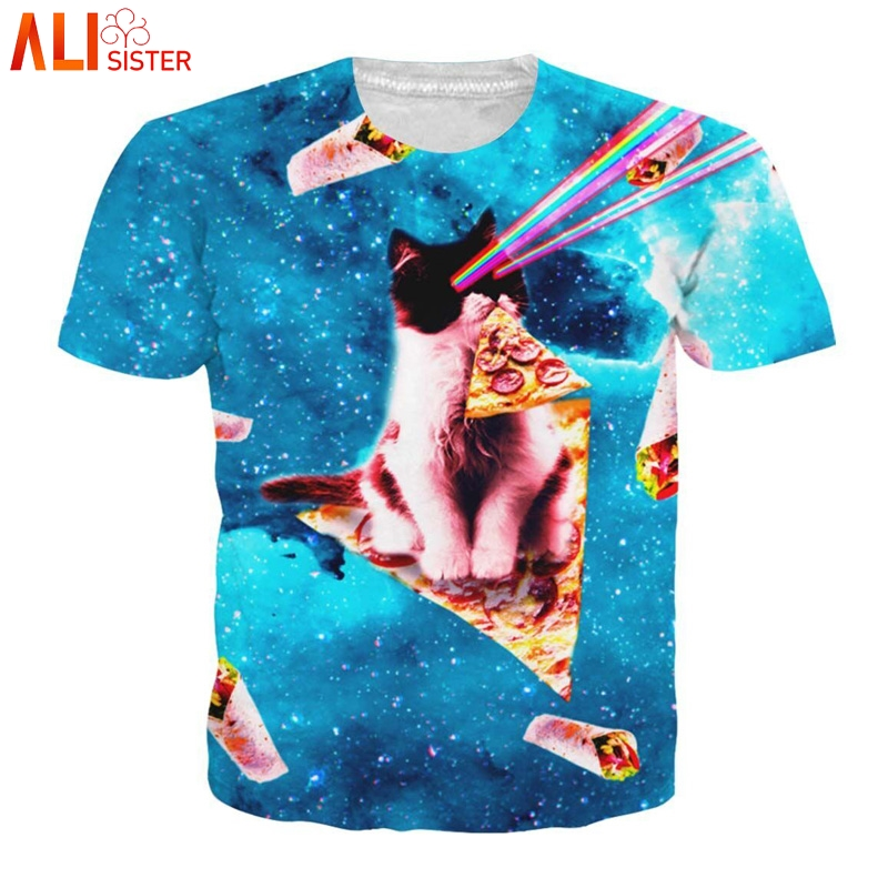 a31fa14a44a5 Alisister Laser Cat Kitten T Shirt 3d Men Women Pizza Kitty Galaxy T shirts  Summer Top Camisetas Hombre Tee Shirt Dropship-in T-Shirts from Men s  Clothing ...
