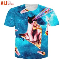 da0553af Alisister Laser Cat Kitten T Shirt 3d Men Women Pizza Kitty Galaxy T-shirts  Summer Top Camisetas Hombre Tee Shirt Dropship