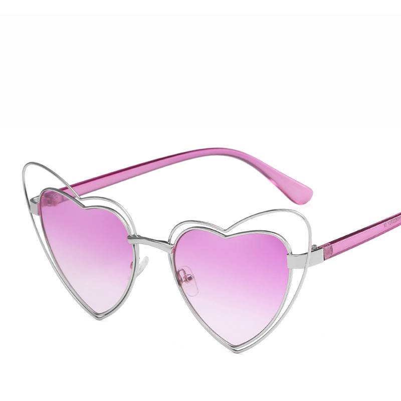 Xinfeite Sun glasses New fashion personality metal peach heart type cats eye UV400 travel shopping womens sunglasses X179