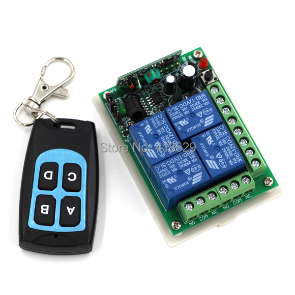 DC 12V 4CH RF Remote Control Switch 315/433MHZ Transmitter and Receiver Newest Design SKU: 5015