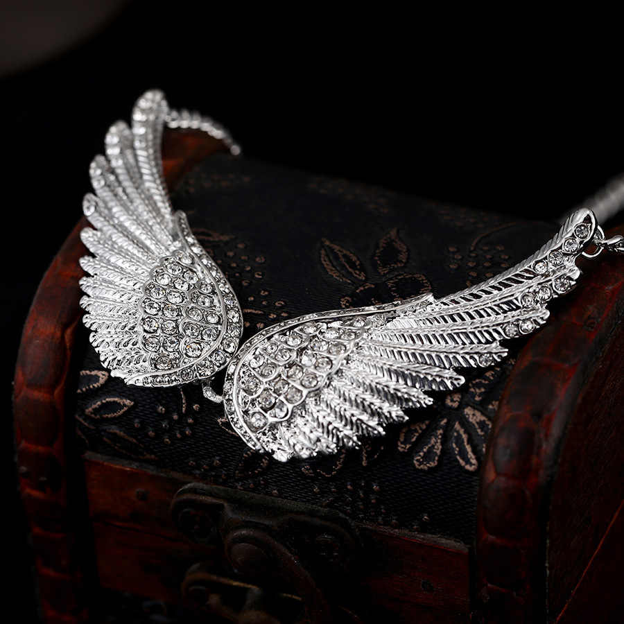 Trendy Charm Angel Wing Rhinestone Pendant Necklace For Women Statment Silver Color Feather Collar Necklaces Jewelry Gift Bijoux