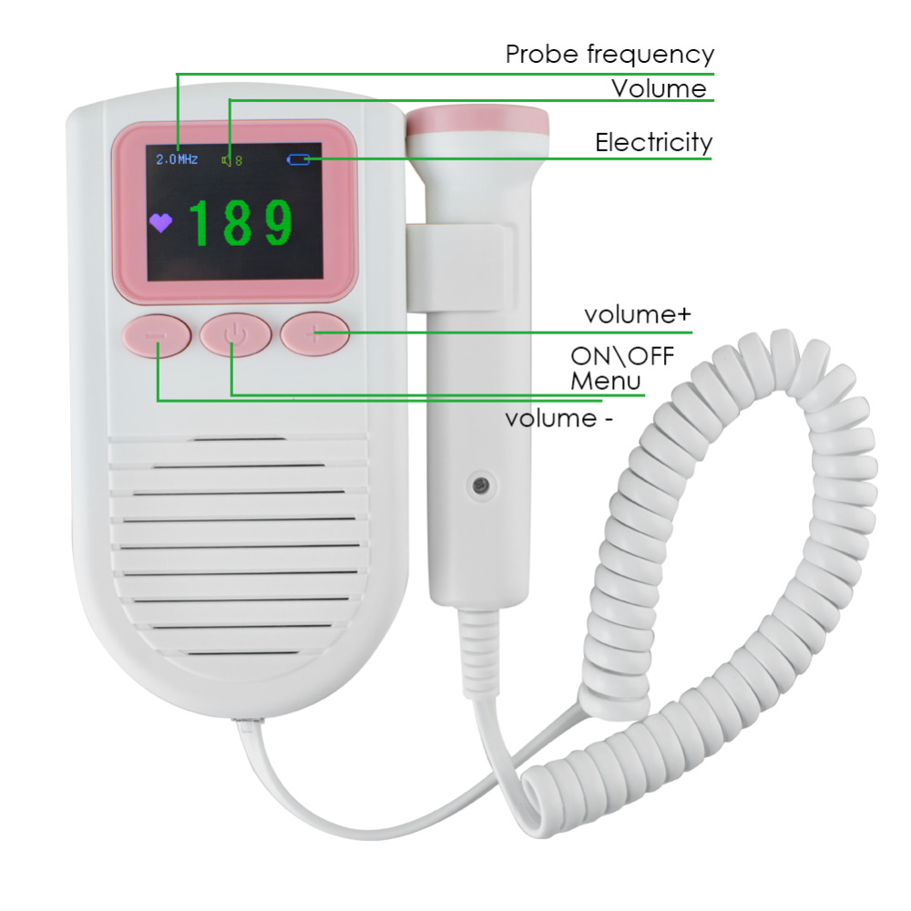 CE&FDA proved Fetal Portable Heartbeat Detector 2MHz Probe LCD Pocket Prenatal Heart Baby Sound Monitor Fetal Doppler fda ce portable pocket baby fetal heartbeat pregnacy doppler fetal heart beat monitor sonoline c fetal doppler